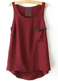 Red Round Neck Pocket Chiffon Vest