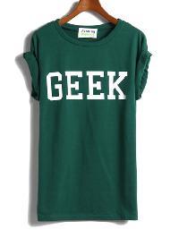 GEEK Print Green T-Shirt