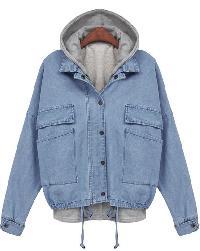 Hooded Drawstring Denim Outerwear