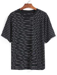 Striped Loose Black T-shirt