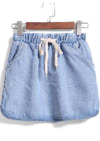Blue Drawstring Waist Denim Skirt
