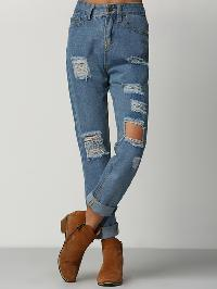 High Waist Ripped Denim Pant