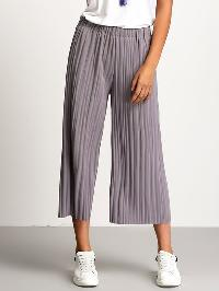 Grey Elastic Waist Pleated Pant