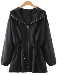 Black Drawstring Zipper Front Sunscreen Hooded Outerwear