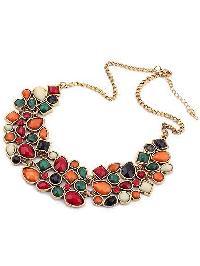 Multicolor Drop Gemstone Necklace