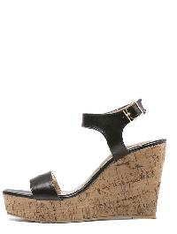 Black Peep Toe Buckle Cork Wedge Sandals