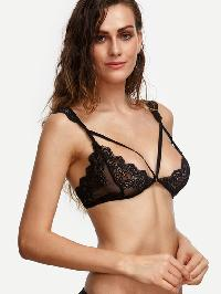 Black Strappy Scalloped Lace Bralet