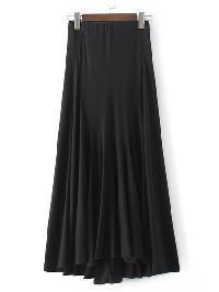 Black Elastic Waist High Low Pleated Skirt