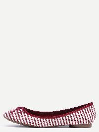 Striped Bow Tie Ballet Flats - Red