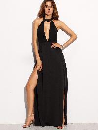 Black Halter Backless Cut Out Slit Dress