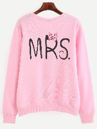 Pink Letter Print Pullover Sweatshirt