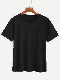 Black Emoji Embroidered Patch T-shirt