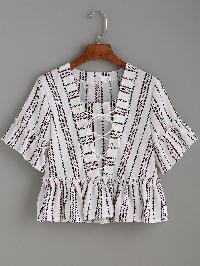 White Vertical Striped Print Lace Up Ruffle Top