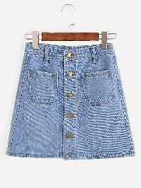 Blue Button Front Dual Pocket A Line Denim Skirt