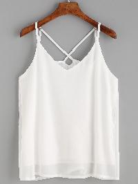 White Crisscross Chiffon Cami Top