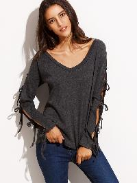 Dark Grey V Neck Tie Long Sleeve T-shirt