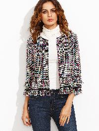 Multicolor Tassel Hem Three Quarter Sleeve Blazer
