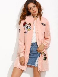 Pink Patchwork Pocket Drawstring Hem Long Jacket