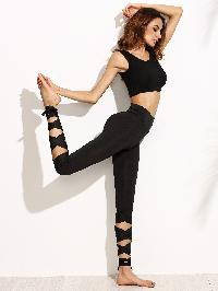 Black Wide Waistband Tie Up Leggings
