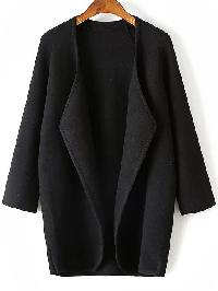 Black Draped Collar Raglan Sleeve Long Cardigan