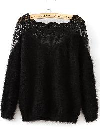 Black Lace Insert Boat Neck Mohair Sweater
