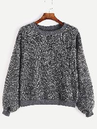 Dark Grey Drop Shoulder Ribbed Sweater
