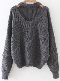 Grey Choker V Neck Zipper Sleeve Sweater