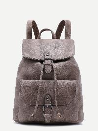 Grey PU Buckle Strap Drawstring Flap Backpack
