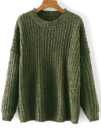 Army Green Round Neck Drop Shoulder Sweater