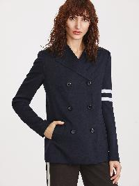 Navy Striped Sleeve Double Breasted Slit Back Blazer