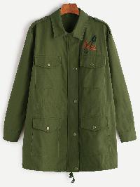 Olive Green Hidden Zip Drawstring Hem Embroidered Utility Jacket