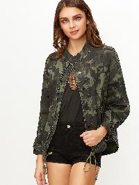Olive Green Camo Print Drawstring Hem Zip Up Jacket