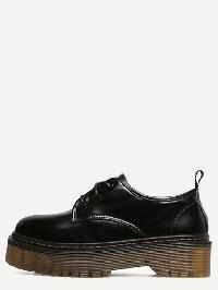 Black Round Toe Lace Up Rubber Soled Shoes