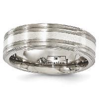 Edward Mirell Titanium Ridged Sterling Silver Band 9, Silver