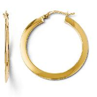 14kt. Polished Hinged Hoop Earrings , Yellow Gold