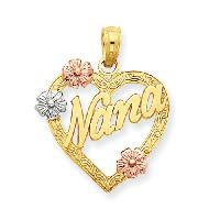 14kt. Tri-Color Nana in Heart Pendant , Gold/Multi