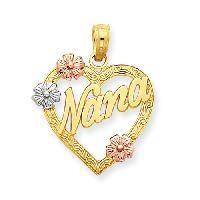 14kt. Tri-Color Nana in Heart Pendant , Gold/Multi