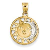 14kt. & Rhodium Sun & Moon Charm , Gold/Rhodium