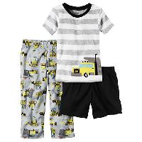 Toddler Boy Carter's(R) Construction 3pc. Pajama Set 2T, Grey Multi