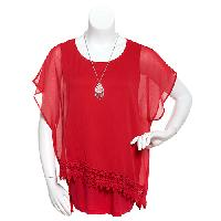 Womens AGB French Terry Popover Lace Trim Top 1X, Red