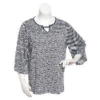 Womens Emaline 3/4 Flutter Sleeve Diamond Top 1X, Navy Multi