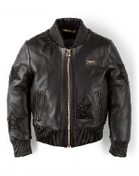 "leather bomber ""sparkling cat"""