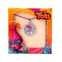 Dreamworks Trolls Silver HUG Shaker Necklace , Purple