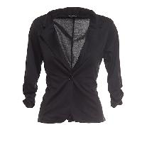 Juniors Feathers Ponte 1 Button Blazer L, Black