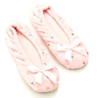 Isotoner Embroidered Terry Ballet Slippers L, Heather