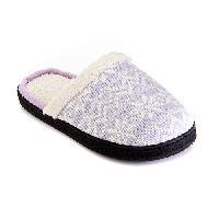 Isotoner Lurex Fair Isle Clog Slippers 6/7, Lilac