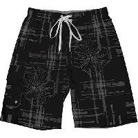 Starting Point Plaid Print Swim Trunks L, Black