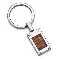 Edward Mirell Titanium & Brown Leather Key Ring , Silver