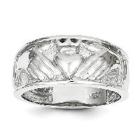 Mens 14k. White Gold Claddagh Ring , Silver