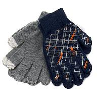Boys (8-20) 2 Pack of Gloves Set One Size Fits All, Navy/Grey
